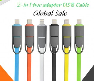 CABLE  2in1 dual lightning cable iphone5-micro usb