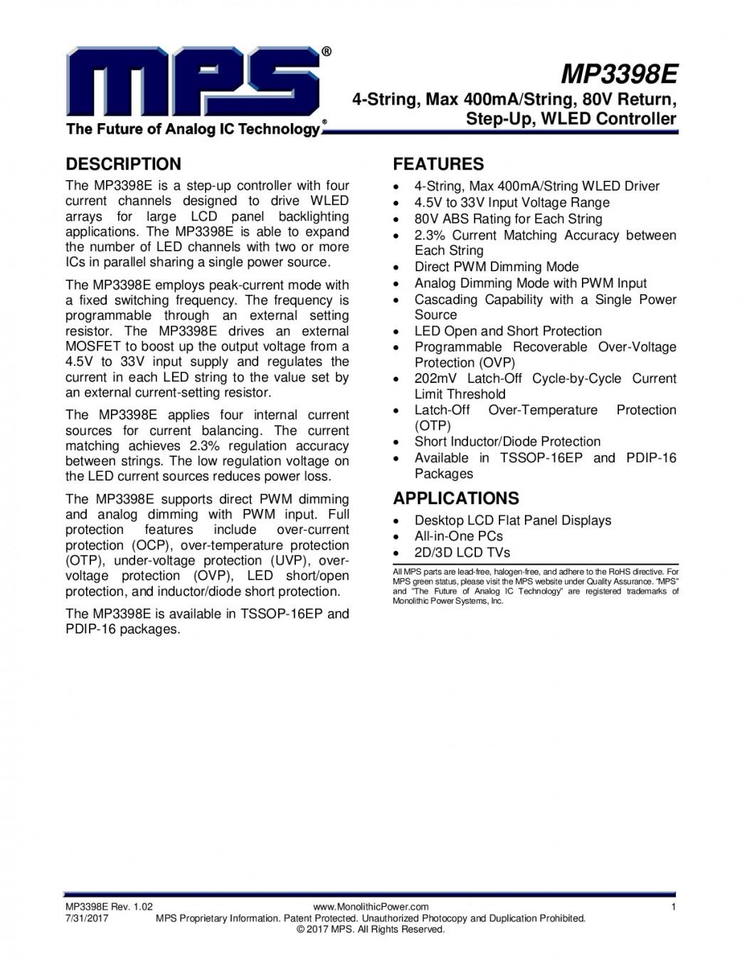 Интегр.схема MP3398AGF SOIC-16