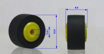 Pinch roller 13 x 8 x 2 mm plastic