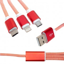 CABLE USB-Micro+C-type+Iphone